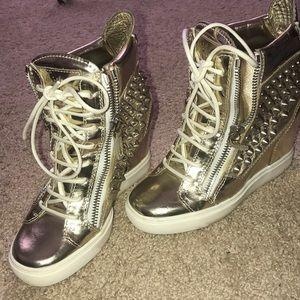 Giuseppe Zanotti Wedge Sneakers Metallic Gold